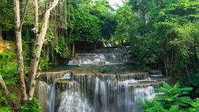 Huay Mea Kamin waterfall. Beautiful and very nice green waterfall for relaxation, Huay Mea Kamin waterfall located Kanchanaburi Province , Thailand Stock Photography
