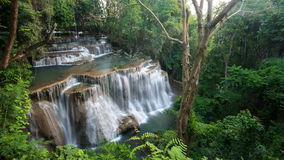 Huay Mea Kamin waterfall at the evergreen forest, Located Kanchanaburi Royalty Free Stock Images