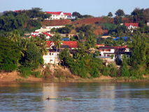 Huay Xai. Laos. The river city of Huay Xai, Laos, as seen from the opposite shore of the Mekong, Chiang Khong, Thailand royalty free stock images