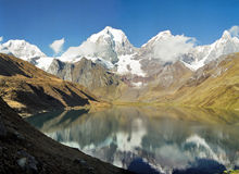 Huayhuash Mountains, Peru. The Huayhuash mountain range reflecting in lake Carhuacocha early in the morning, Peru royalty free stock photography