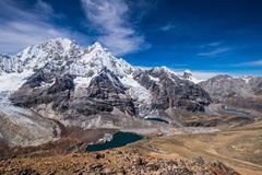 Cordillera Huayhuash in Peru and Sarapococha Valley Royalty Free Stock Photos