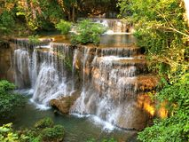 Huaymaekamin Waterfall at Kanchanaburi province Thailand Royalty Free Stock Images