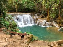 Huaymaekamin Waterfall at Kanchanaburi province Thailand Stock Photo