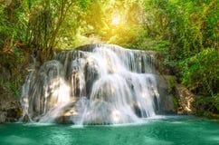 Huaymaekamin Waterfall in Kanchanaburi, Thailand. Stock Photo