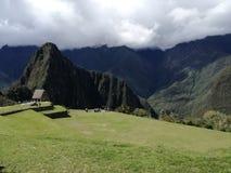 huayna picchu山的看法 免版税图库摄影