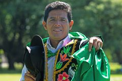 Huayno Dance. Portrait of a man dancing Huayno, a traditional musical genre typical of the Andean region of Peru, Bolivia, northern Argentina and northern Chile Stock Images