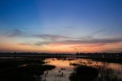 Huayyang reservoir at sunset Royalty Free Stock Photo