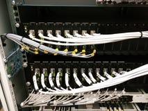 HUB del commutatore di rete e cavi di Ethernet immagine stock