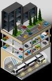 Hub di trasporto del sottopassaggio e multi parcheggio del piano Fotografia Stock Libera da Diritti