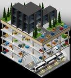 Hub di trasporto del sottopassaggio e multi parcheggio del piano Immagini Stock