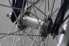 Hub dirty and spokes of old bicycle Stock Photo