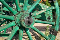 Hub and fragment of a wooden wheel from the lafette. Of the old cannon Royalty Free Stock Image