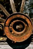 Hub of an old wagon wheel. The hub of an old wood wagon wheel with a function of holding the axle Royalty Free Stock Photos