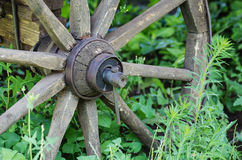 The hub of an old wooden wheel Stock Photo