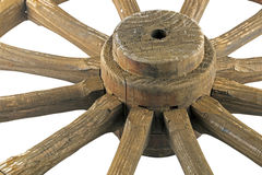 Hub and Spokes of Wooden Weathered Ornamental Wagon Wheel Stock Photos