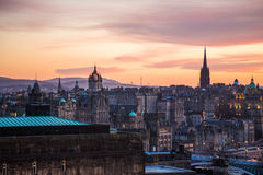 The Hub tower and St Giles Cathedral, sunset. Photography of the Hub tower and St Giles Cathedral, Edimburgh, Scotland, UK Royalty Free Stock Photo