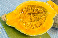Hubbard squash cut showing interior Stock Photos
