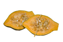Hubbard squash halves. Isolated over white background with a clipping path at original size Stock Photos