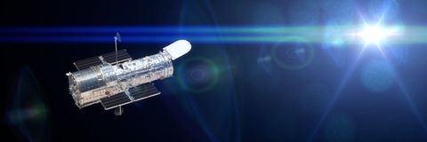 Free Hubble Space Telescope Observing A Star 3d Illustration Banner, Elements Of This Image Are Furnished By NASA Royalty Free Stock Images - 114903399