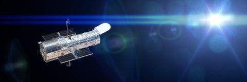 Hubble Space Telescope osservando un'insegna dell'illustrazione della stella 3d, elementi di questa immagine è fornito dalla NASA Immagini Stock Libere da Diritti