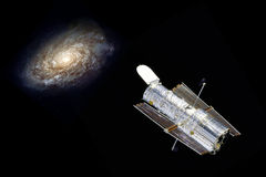 Hubble telescope in space. Hubble telescope in universe observe a galaxy - elements of this image furnished by NASA Stock Images