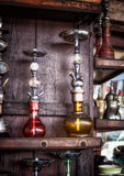 Hubbly Bubbly. Traditional Shisha Water Pipes for Sale in Arabian Market Royalty Free Stock Images