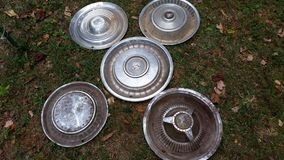 Hubcaps. Vintage hubcap collection Tennessee Stock Image