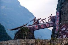 Hubei Badong κατά μήκος της πόλης του μεγάλης κλίμακας ιχνηλάτη γλυπτών ` της ψυχής ` Στοκ φωτογραφίες με δικαίωμα ελεύθερης χρήσης