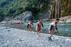 Hubei Badong κατά μήκος του πόλης ιχνηλάτη ποταμών Στοκ Φωτογραφίες