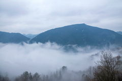 Hubei Badong Dazhiping River Valley sea of clouds Royalty Free Stock Images