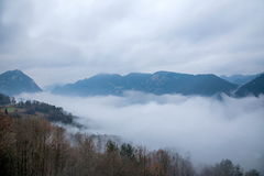 Hubei Badong Dazhiping River Valley sea of clouds Royalty Free Stock Photos