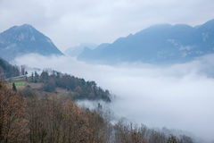 Hubei Badong Dazhiping River Valley sea of clouds Stock Images