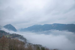 Hubei Badong Dazhiping River Valley sea of clouds Royalty Free Stock Image