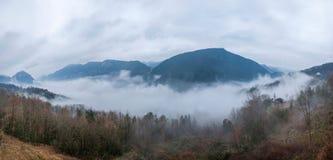 Hubei Badong Dazhiping River Valley sea of clouds Stock Photos