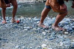 Hubei Badong le long du traqueur de ville de rivière Image stock
