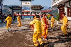 Hubei Badong non-material cultural heritage folk song and dance, `Ye Yeer ho` combination. Hubei Changyang Tujia `Sa`er children ho`, is the middle reaches of Royalty Free Stock Photo