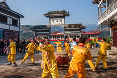Hubei Badong non-material cultural heritage folk song and dance, `Ye Yeer ho` combination. Hubei Changyang Tujia `Sa`er children ho`, is the middle reaches of Stock Photos