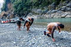 Hubei Badong wzdłuż rzecznego grodzkiego tropiciela Zdjęcia Royalty Free