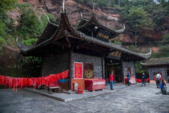 Hubei Enshi Tujia Temple City, Lin Jun ancestor of Pakistani Works with statues  Lin Jun Temple is one of the important buildings Stock Photos
