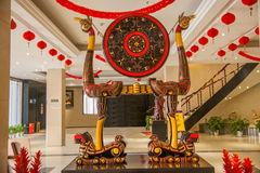 Hubei Hubei totem signs lacquer 'tiger bird frame drum' Royalty Free Stock Photo