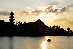 Hubei Lake sunset clouds Stock Images