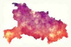Hubei prowinci akwareli mapa Chiny przed białym backg fotografia stock