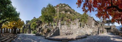 Hubei Yiling el río Yangzi Three Gorges Dengying Xia en la cabaña de Wang de los vagos del ` de la gente de Three Gorges del ` Imagenes de archivo