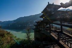 Hubei Yiling el río Yangzi Three Gorges Dengying Xia en la cabaña de Wang de los vagos del ` de la gente de Three Gorges del ` Foto de archivo