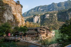 Hubei Yiling el río Yangzi Three Gorges Dengying Xia en la gente de la corriente del ` de la gente de Three Gorges del ` Fotos de archivo libres de regalías
