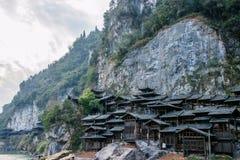 Hubei Yiling el río Yangzi Three Gorges Dengying Xia en la gente de la corriente del ` de la gente de Three Gorges del ` Foto de archivo