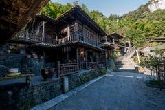 Hubei Yiling il fiume Chang Jiang Three Gorges Dengying Xia nel cottage di Wang di sedere del ` della gente di Three Gorges del ` Immagini Stock