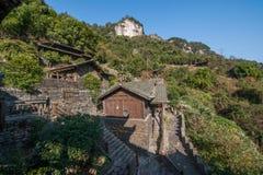 Hubei Yiling il fiume Chang Jiang Three Gorges Dengying Xia nel cottage di Wang di sedere del ` della gente di Three Gorges del ` Fotografia Stock Libera da Diritti