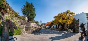 Hubei Yiling jangcy Trzy wąwozy Dengying Xia w ` Trzy wąwozie zaludniają ` półdupków Wang chałupę Fotografia Stock