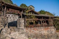 Hubei Yiling jangcy Trzy wąwozy Dengying Xia w ` Trzy wąwozie zaludniają ` półdupków Wang chałupę Zdjęcie Stock